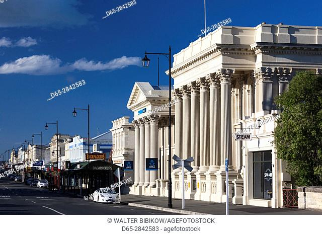 New Zealand, South Island, Otago, Oamaru, Victorian District, buildings along Thames Street