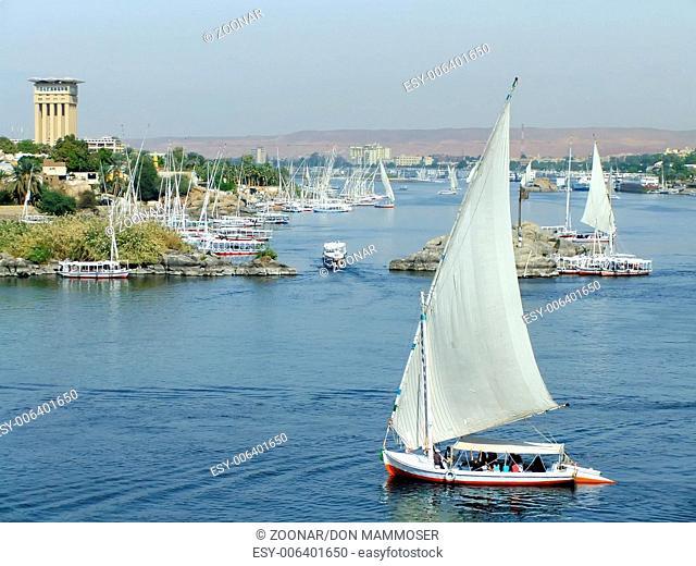 Felucca boats sailing on the Nile river, Aswan, Eg