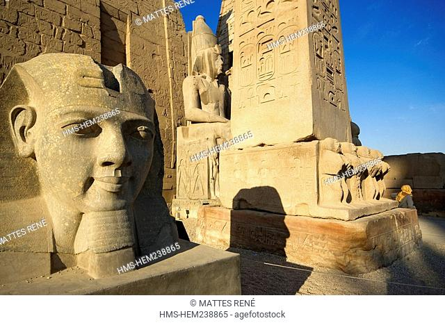 Egypt, Upper Egypt, Nile Valley, Luxor Temple listed as World Heritage by UNESCO, Ramses II's head