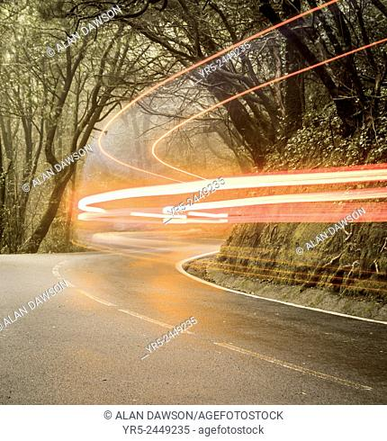 Car light trails on forest road in Anaga rural park on Tenerife, Canary Islands, Spain