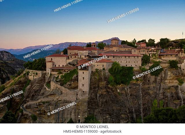Greece, Thessaly, Meteora monasteries complex, listed as World Heritage by UNESCO, the Grand Meteora Monastery (Megalo Meteoro)