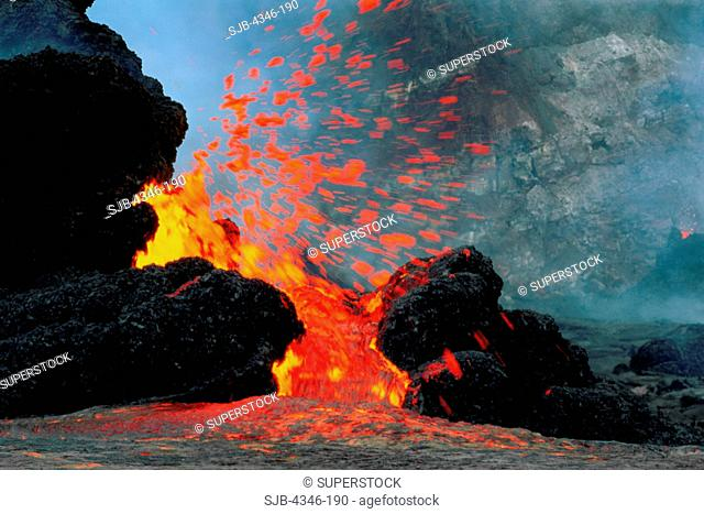 Lava Erupting From Spatter Cones within Pu'u O'o Vent