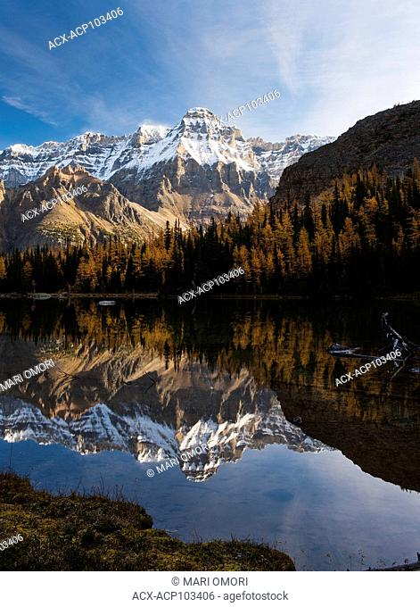 A clear and crisp morning reflection on Schaffer Lake in Yoho National Park