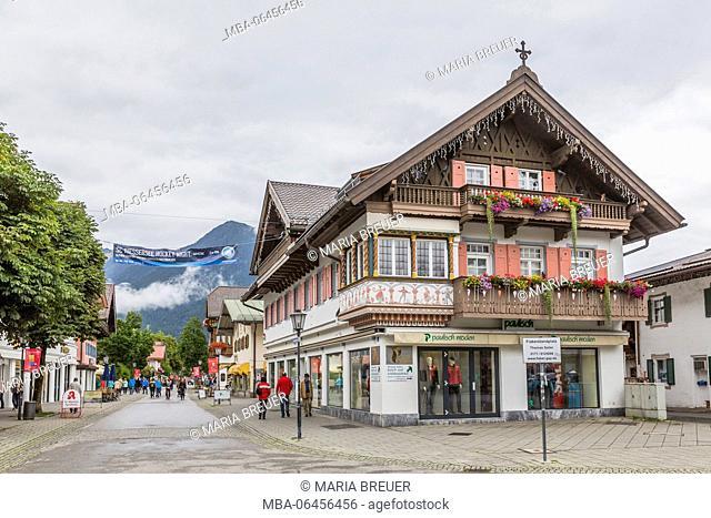 House facades with Lüftlmalerei, district of Garmisch, Garmisch-Partenkirchen, Werdenfelser Land, Upper Bavaria, Bavaria, Germany, Europe