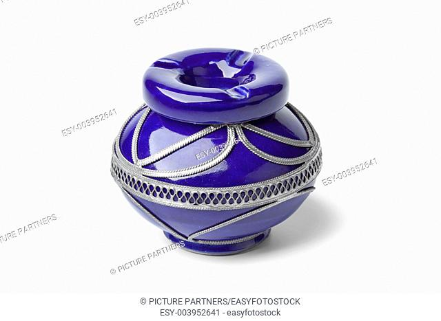 Decorated Moroccan ashtray on white background