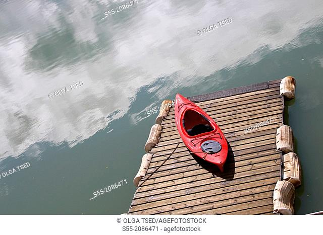 Red kayak, Terradets reservoir, Lleida province, Catalonia, Spain