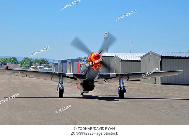 P-51D, Sparky, sponsored by Jelly Belly, taxiing at Nampa Airport