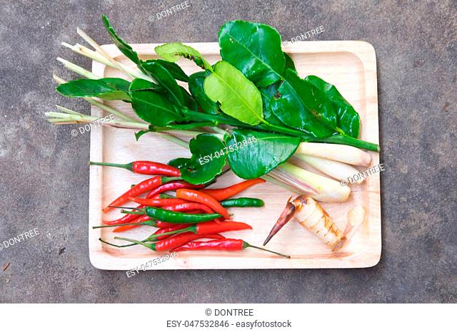 Ingredient of Thai Tom Yam soup on wood tray