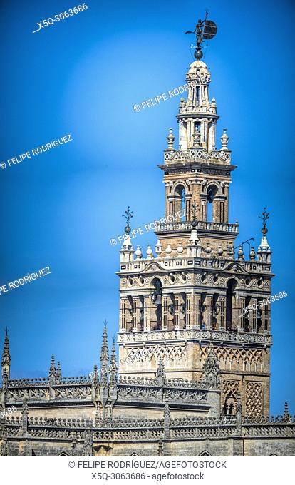 West and south sides of the Giralda tower, Seville, Spain. High resolution panorama
