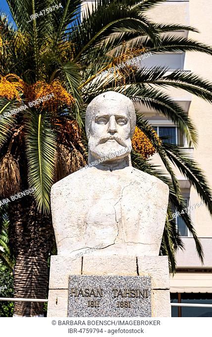 Bust of Hasan Tahsini, scientist, scholar, promenade, Saranda, Ionian Sea, Albania