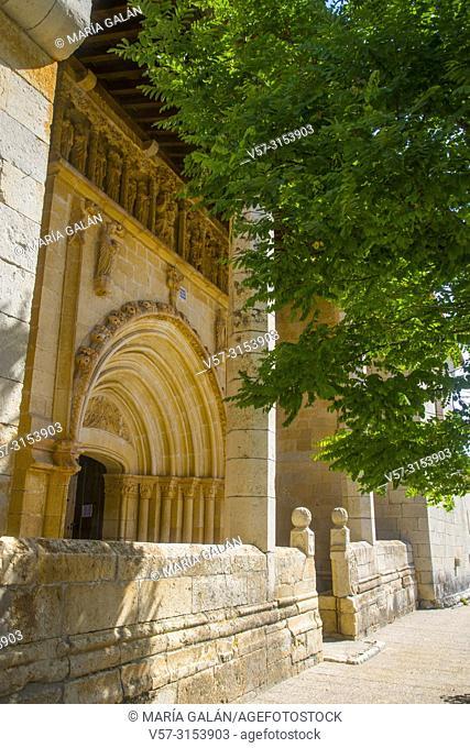 Facade of the church. Traspeña de la Peña, Palencia province, Castilla Leon, Spain