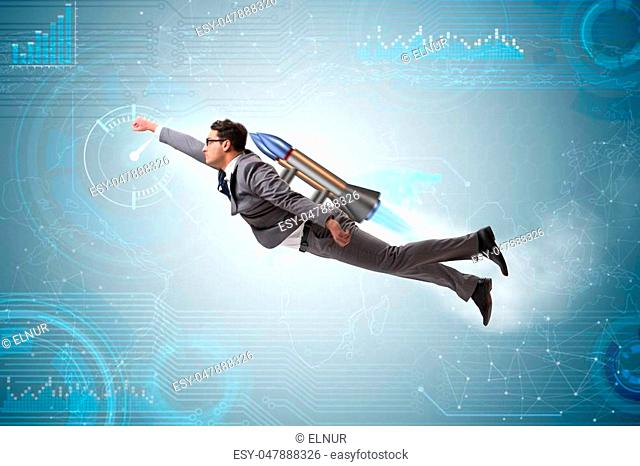 Businessman flying with rocket in funny business concept