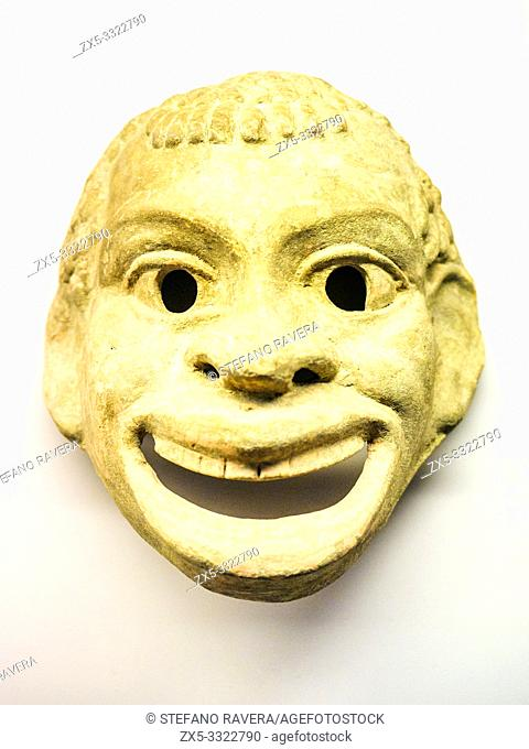 Terracotta mask, probably intended to represent an african slave. made in Sicily about 350 BC