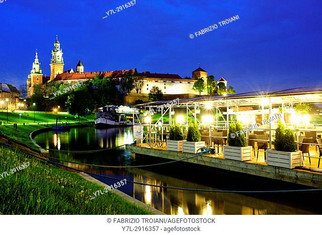 Boat over the vistula river looking at Wavel castle, Krakow, Poland