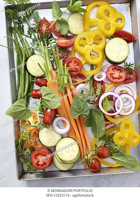 Colourful vegetables on a baking tray
