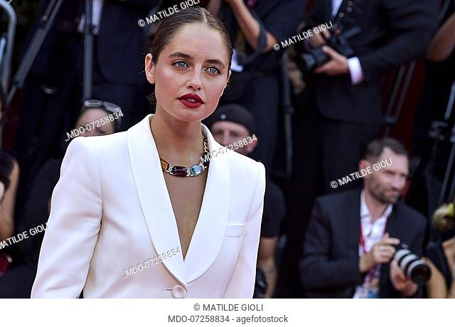 "VENICE, ITALY - AUGUST 31: Matilde Gioli walks the red carpet ahead of the """"Joker"""" screening during the 76th Venice Film Festival at Sala Grande on August 31"