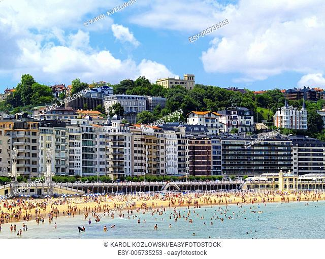 Beautiful Beach in Donostia - San Sebastian, Basque Country, Spain