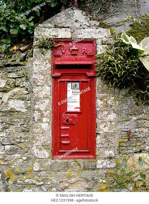 Victorian postbox, Talskiddy, St Columb Major, Cornwall, 2000. This Victorian wall letter box is built into a stone wall at Talskiddy, Cornwall