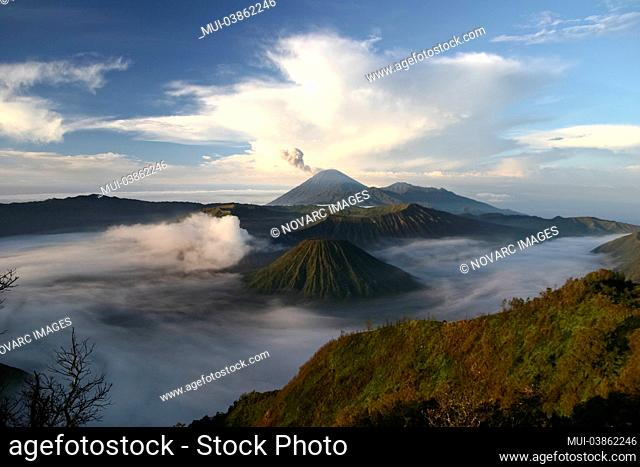 Active crater of Bromo on the left, volcano Batok in front and volcano Semeru behind, Bromo Tengger Semeru National Park, Java Island, Indonesia