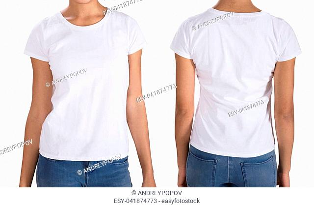 Young Woman Wearing T-Shirt Standing On White Background