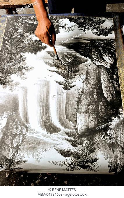 China, Guangxi Province, Guilin Region, near Yangshuo, Xingping, Su Li painter