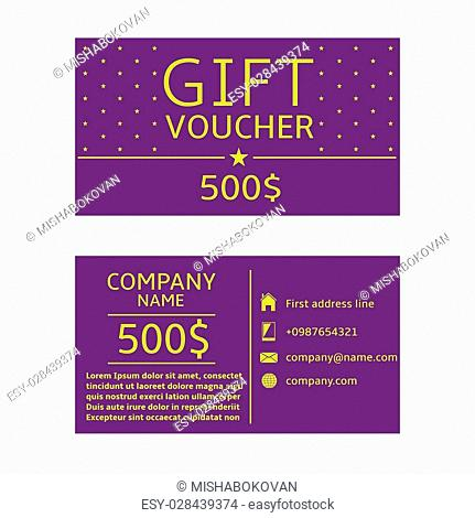 Gift voucher card. 500 dollars prize, Gift certificate