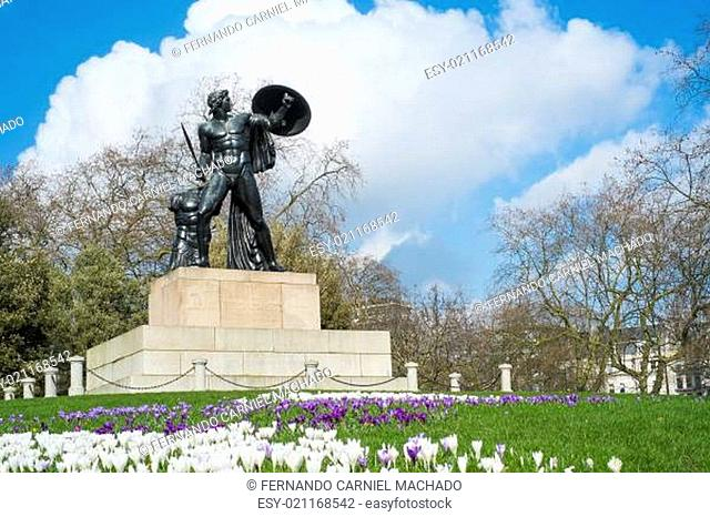 Statue of Achilles in Hyde Park, London, UK, dedicated to the Duke of Wellington and forget with the bronze from captured cannons in campaigns