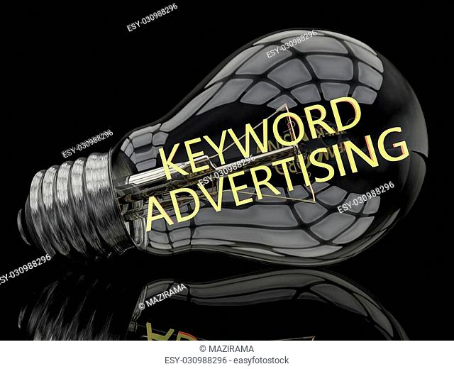 Keyword Advertising - lightbulb on black background with text in it. 3d render illustration
