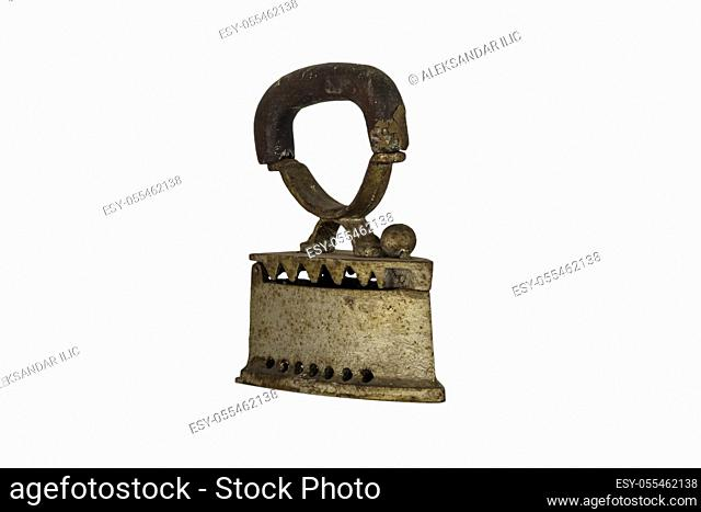 Vintage coal iron on a white background with copy space
