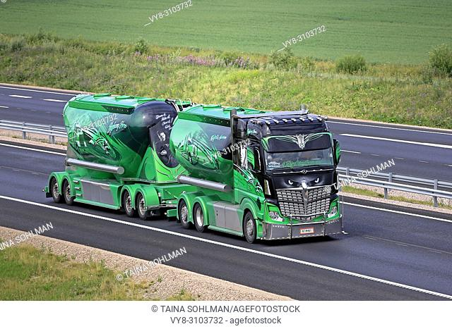 Mercedes-Benz Actros 2551 Highway Hero show truck and bulk transporter of Kuljetus Auvinen Oy on the road in summer. Salo, Finland - July 13, 2018