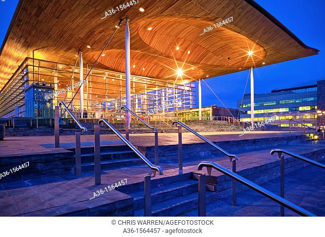 Welsh National Assembly building, the Senedd Cardiff Bay Cardiff Wales at twilight