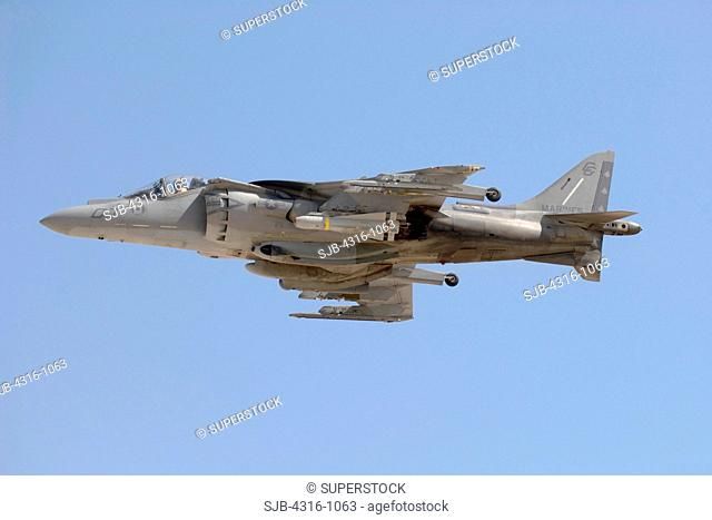 A US Marine Corps AV-8B Harrier Launches from Al Asad Air Base in Iraq's Al Anbar Province