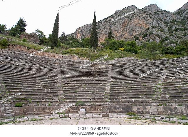 greece, delphi, archeological area, theatre