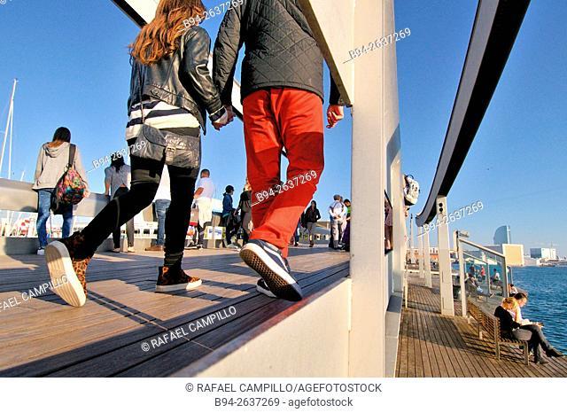 Rambla de Mar, pedestrian walkway, connects La Rambla to Port Vell, Barcelona, Catalonia, Spain