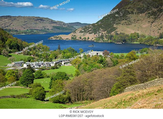 England, Cumbria, Glenridding. View over the village of Glenridding to Ullswater, the second largest lake in the Lake District