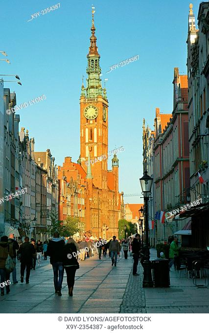 Gdansk Poland. East along main shopping street of Dluga to the tower of the Main Town Hall in the heart of the Old Town