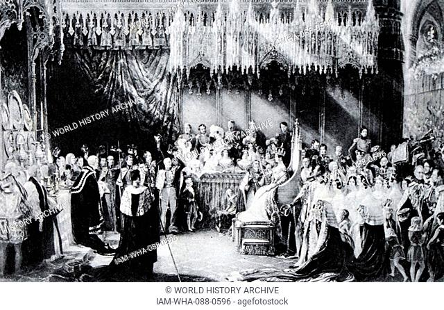 Painting depicting the coronation of Queen Victoria (1819-1901) Queen of the United Kingdom of Great Britain and Ireland. Dated 19th Century