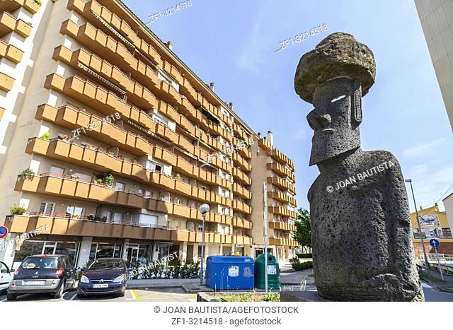 Street view, stone sculpture Ahu Moai by Manuel Tuki. Olot,Catalonia,Spain