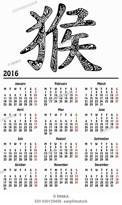 Calendar 2016 with black monkey hieroglyph designed with hand-drawn zentangle style pattern