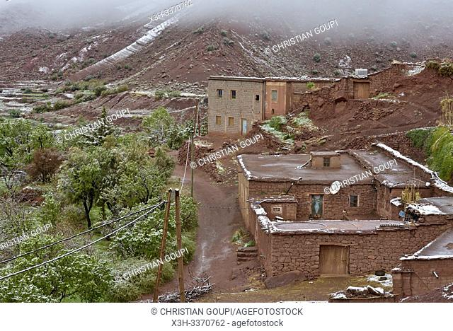 view of the village of Tighza under a thin layer of snow, Ounila River valley, Ouarzazate Province, region of Draa-Tafilalet, Morocco, North West Africa
