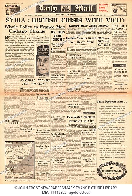 1941 front page Daily Mail Diplomatic crisis over Syria
