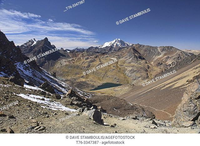 Descending from Pico Austria on the Cordillera Real Traverse, Bolivia