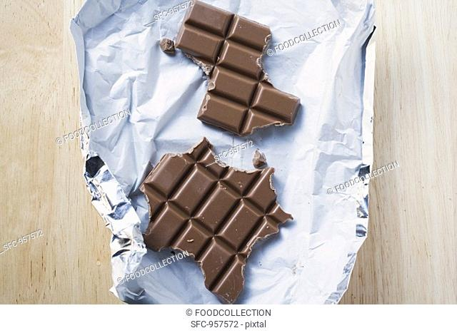 Bar of chocolate, partly eaten, on silver paper