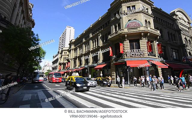 Buenos Aires Argentina Galerias Pacifico famous Mall for shopping and dining in city center entrance and traffic outside