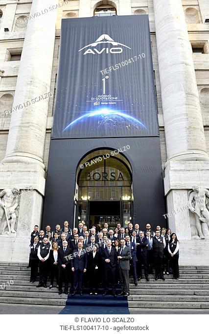 Giulio Ranzo, Managing Director and General Manager of AVIO SpA, Samantha Cristoforetti, Roberto Battiston , President of the Italian Space Agency pose in front...