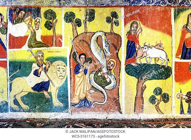 ancient ethiopian orthodox church interior painted walls in gondar ethiopia