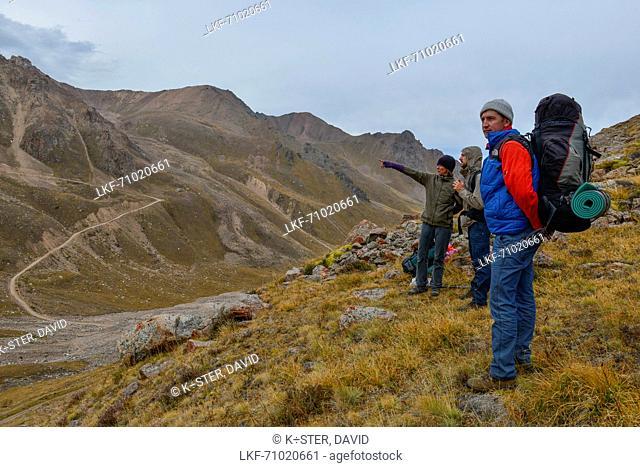 Hikers in National Park Ile Alatau, Almaty region, Kazakhstan, Central Asia, Asia