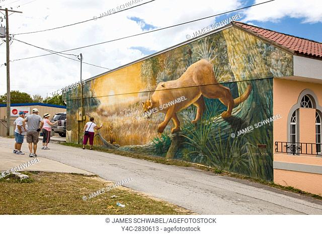 People looking at art murals painted on outdoor building walls in Lake Placid Florida known as the Town of Murals
