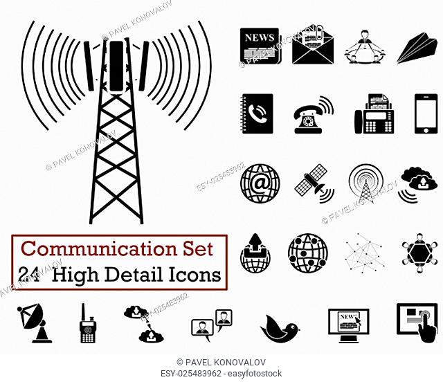 Set of 24 Communication Icons in Black Color