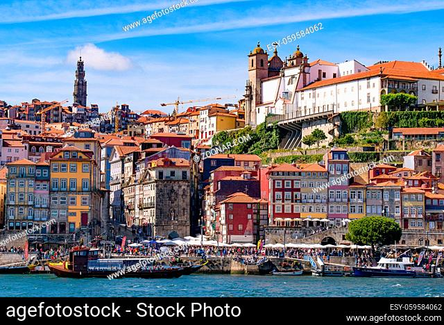River Douro and the riverbank of Ribeira District in Porto, Portugal